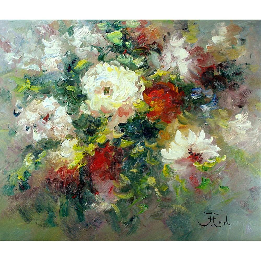 Impressionistisch Schilderij John Frel Mixed Roses