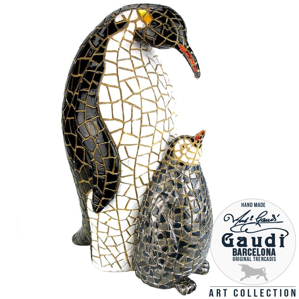 Koningspinguin met jong beeldje mozaiek