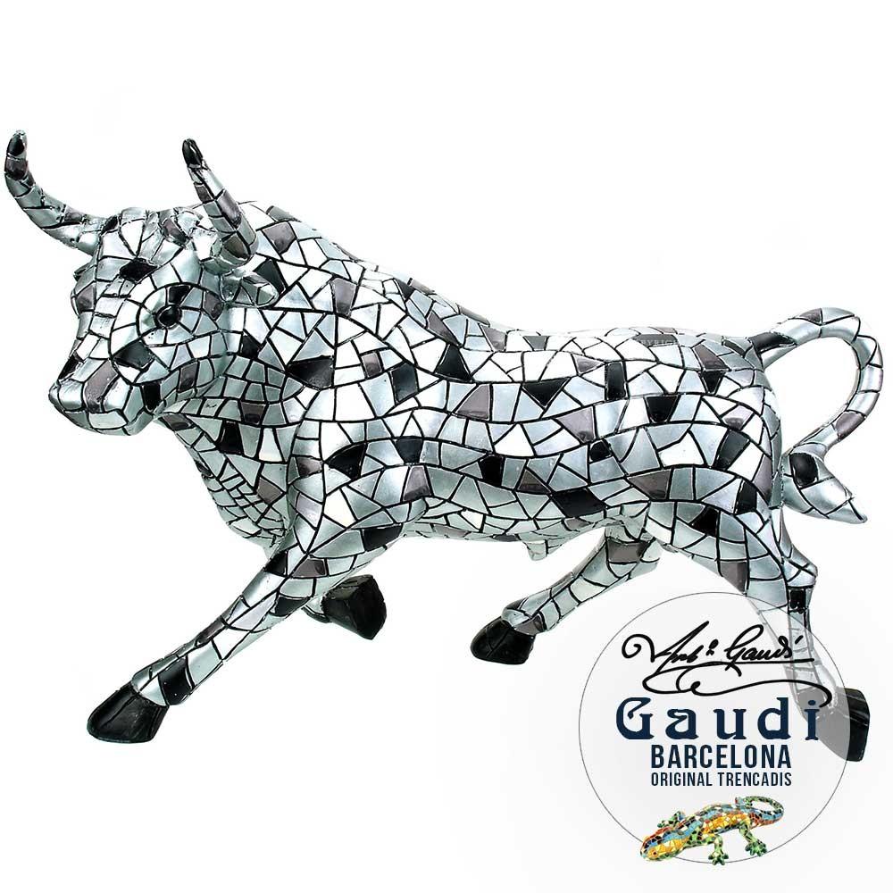 Gaudi beeld stier zilver 30cm