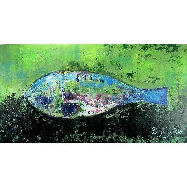Schilderij Fish in Blue and Green