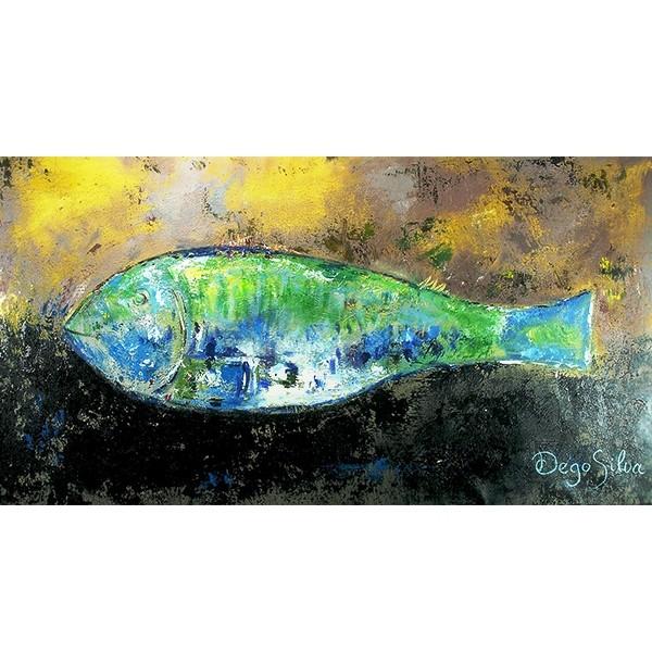 Schilderij Fish in Yellow and Green Art Unica Amersfoort