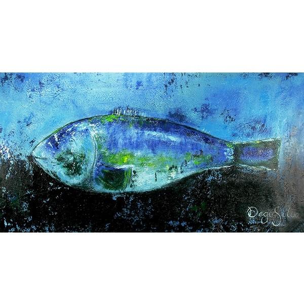 Schilderij Fish in Blue Art Unica