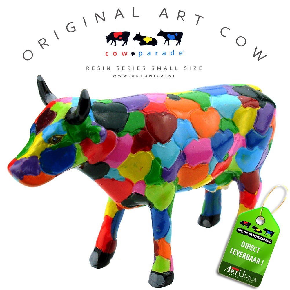 Cow parade koebeeldje Heartstanding Cow Art Unica