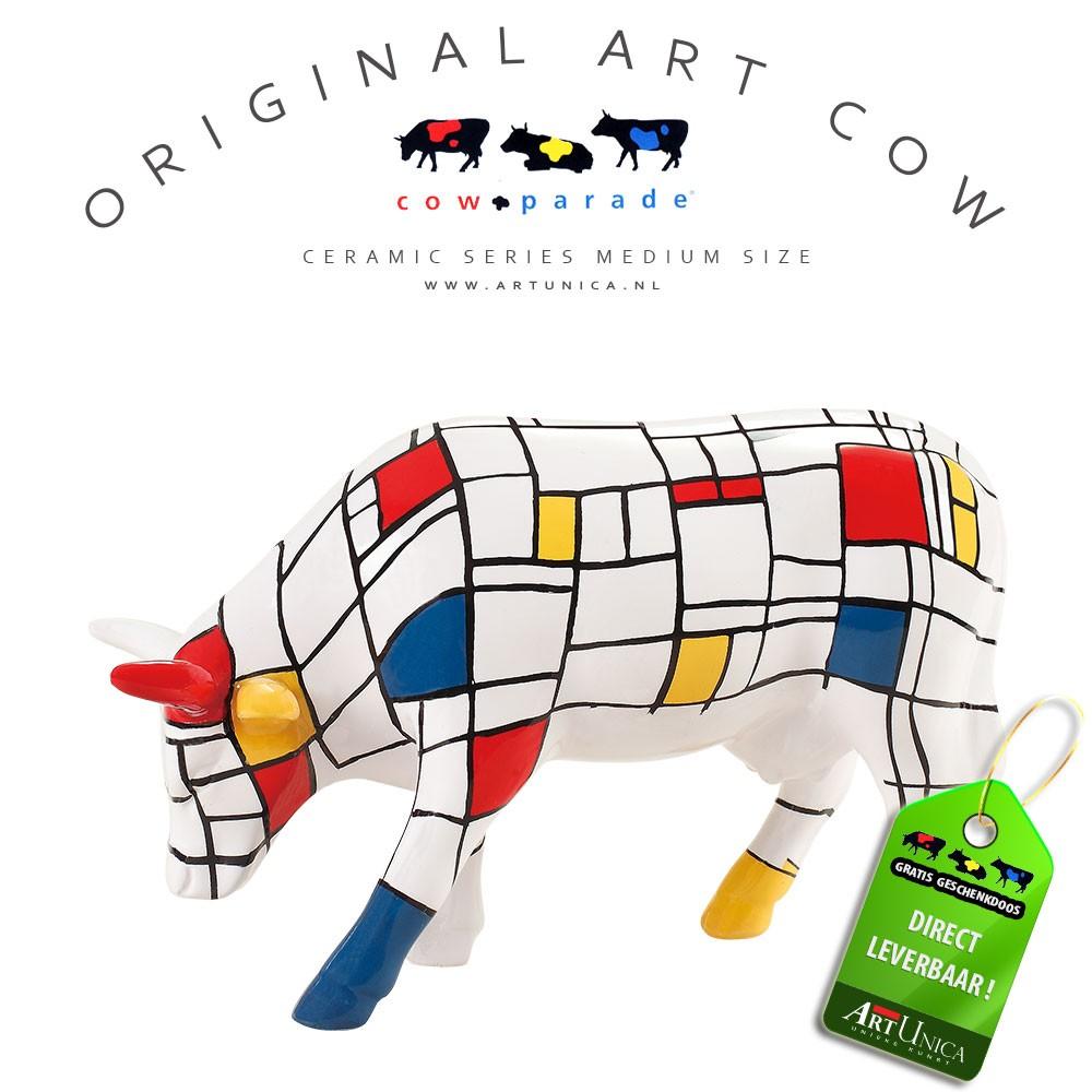 Art Cow Koe beeldje keramiek Moondrian Art Unica