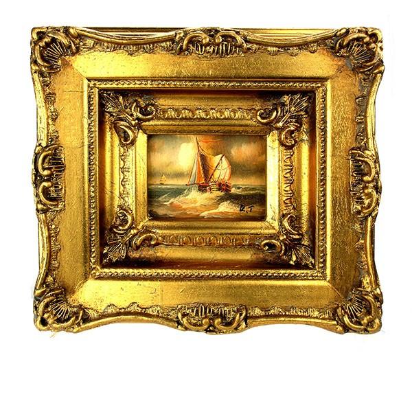 Romantisch schilderij Boot op zee Art Unica