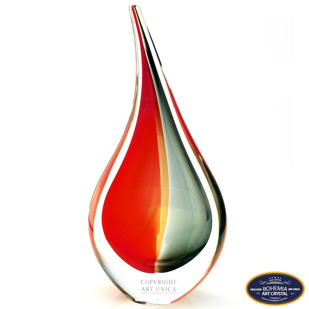 Glaskunst Abstract Vlam rood zwart 16cm
