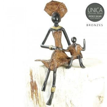 Moeder met kinsd beeld brons Art Unica