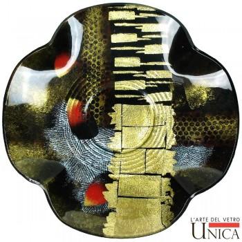 Schaal glaskunst Viareggio Nero Oro