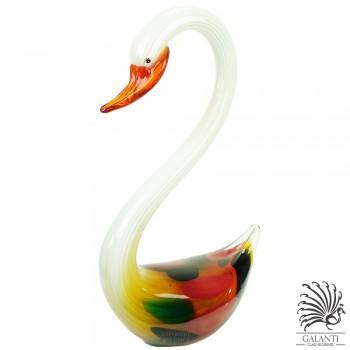 Zwaan glassculptuur wit met kleuren