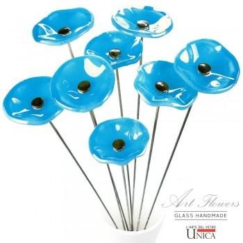 Glaskunst bloemen boeket lichtblauw