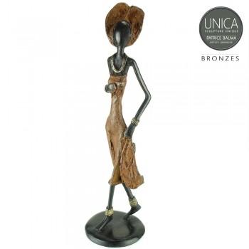 Bronzen beeld vrouw Afrikaaans Josiane