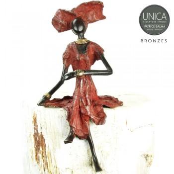 Mariam Afrikaanse vrouw bronzen beeld zittende vrouw