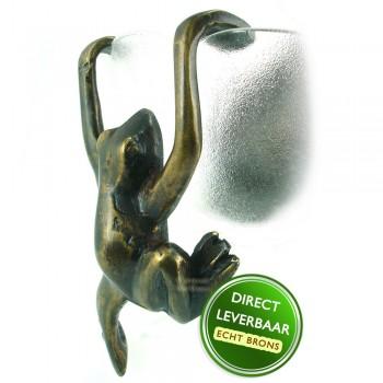 Bronzen beeldje Kikker hangend Art Unica