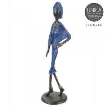 Afrikaanse vrouw Yasmine bronzen beeld Unica