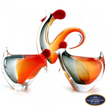 Glaskunst Kip gebogen Art Unica