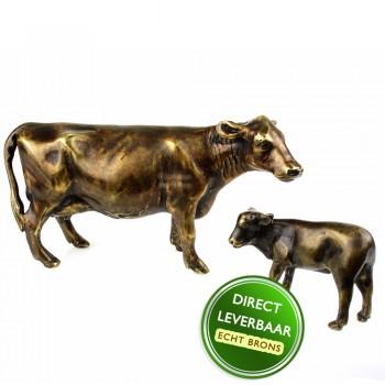 Bronzen beeld koe met kalf Art Unica