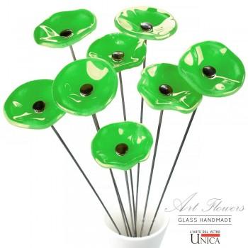 Glaskunst bloemen boeket groen