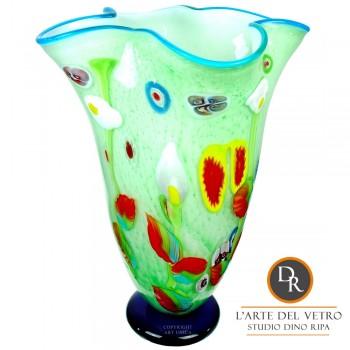 Glaskunst vaas Lazio groen Dino Ripa