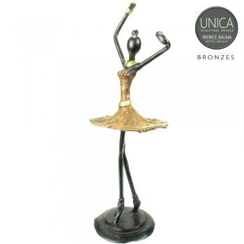 Ballerina beeldje brons oker