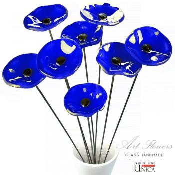 Glaskunst bloemen boeket blauw