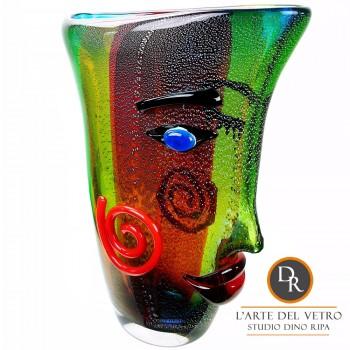 Faccia glaskunst vaas glasobject Dino Ripa