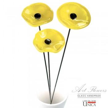 Glaskunst bloemeboeketje geel