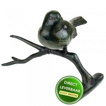 Bronzen beeldje vogel op tak Art Unica