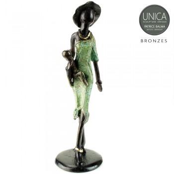 Moeder met kind beeldje brons