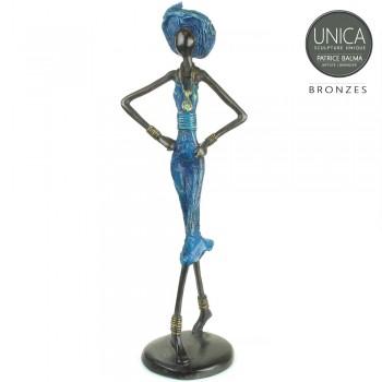 Madeleine bronzen beeld Afrikaanse vrouw met hoed