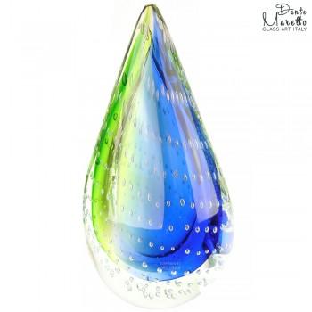 Glassculptuur Vlam blauw groen Art Unica