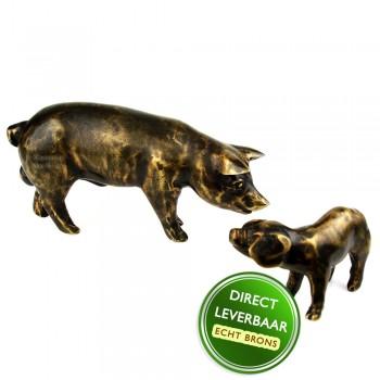 Bronzen beeld Varken met Big Art Unica