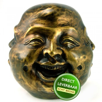 Bronzen beeldje Geluks Boeddah met vier gezichten Art Unica
