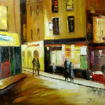 Schilderij Impressionisme Avond in Montmartre John Frel Art Unica