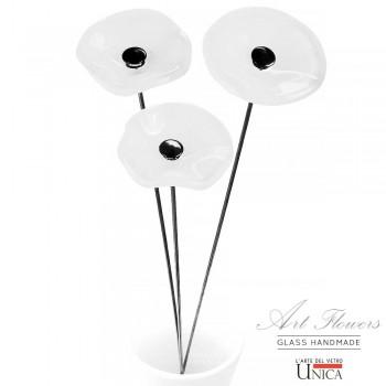Glaskunst bloemen boeket wit