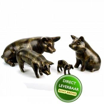 Bronzen beeldjes varkens groep Art Unica Brons Center Amersfoort