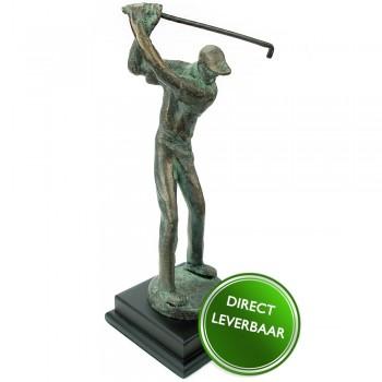 Bronzen beeldje Golfer op voet Galerie en Kunstwinkel voor bereikbare Kunst Amersfoort