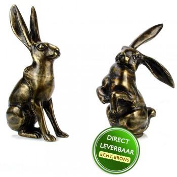 Bronzen beeldjes Hazen Art Unica