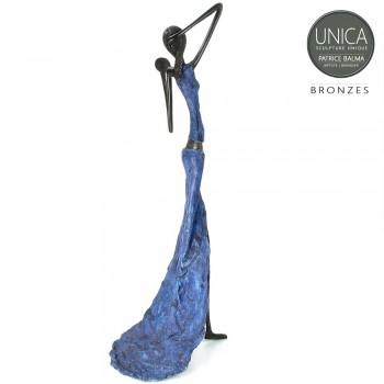 Beeld Afrikaanse vrouw met spiegel brons