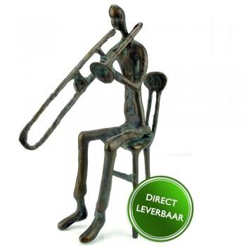 Bronzen beeldje De Trombonist zittend, Galerie en Kunstwinkel Art Unica Amersfoort