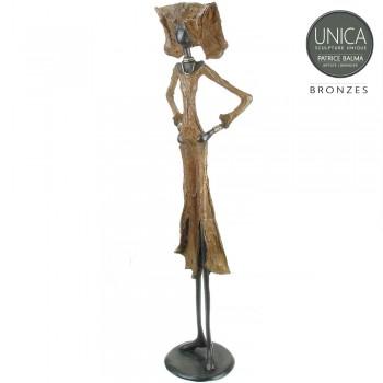 Bronzen kunstbeeld Afrikaanse vrouw