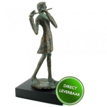 Bronzen beeldje Fluitiste Art Unica
