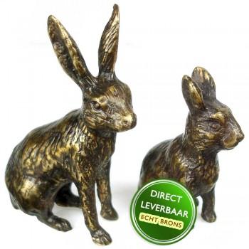 Bronzen beeld Haasje en konijntje