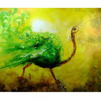 Impressionistisch John Frel Bird of Paradise Art Unica