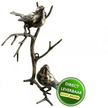 Bronzen beeldje vogels op tak wandbevestiging