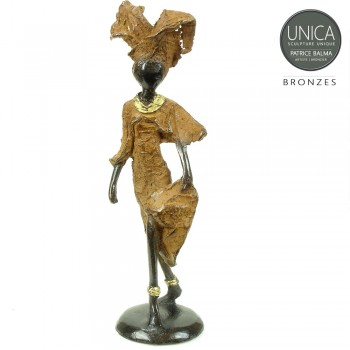 Afrikaans beeldje brons vrouw Nicole
