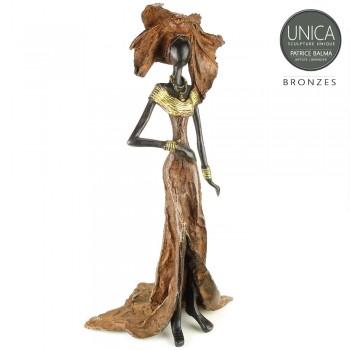 Bronzen beeld Afrikaanse vrouw Flore