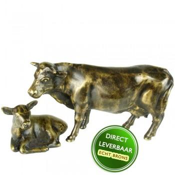 Koe met kalf beeld brons
