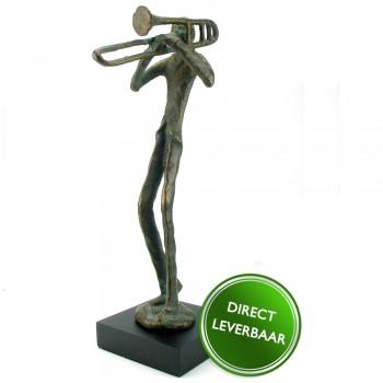 Bronzen beeldje Trombonist Galerie en Kunstwinkel
