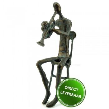 Bronzen beeldje De Trompettist zittend, Galerie en Kunstwinkel Art Unica Amersfoort