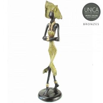 Farida bronzen beeld vrouw Afrikaans